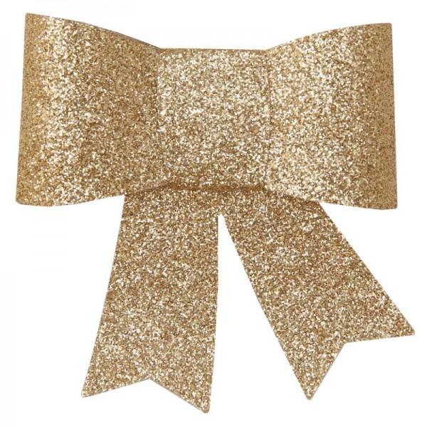 Schleife Glitzer Gold mit Klammer für Hochzeit Tischdeko 2 Stück