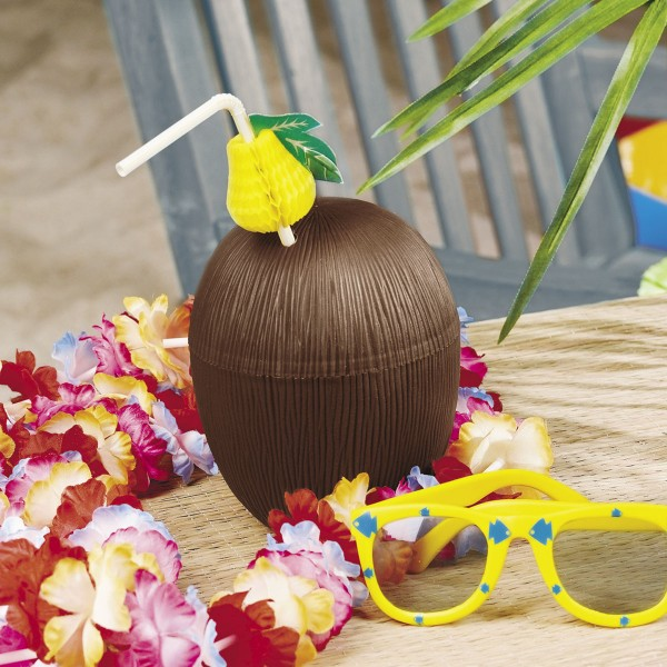 Kokosnuss Trinkflasche für Aloha Hula Hawaii Beachparty 12 Stück