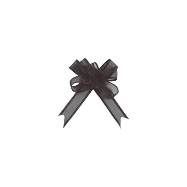 Ziehschleifen Geschenkschleifen schwarz 14cm x 10cm aus Organza mit Satinkante 5 Stück