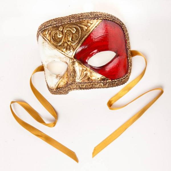 Venezianische Maske Domino Scacchi Gold Weiß Rot