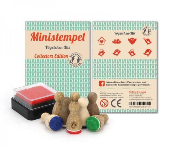 Holz-Stempel Vögelchen Mix 8 Stück mini