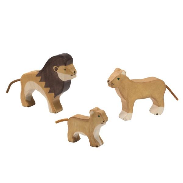 Holztiger Löwen Raubkatzen Set mit 3 Holzfiguren