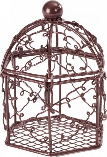 Käfig als Namensschild für Hochzeitsmandeln in braun 8 Stück