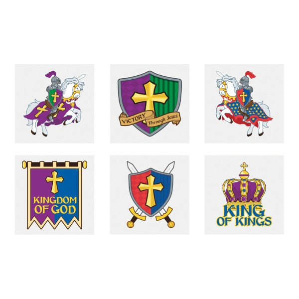 Ritter mit Schlachtross Kindertattoos für Ritterparty