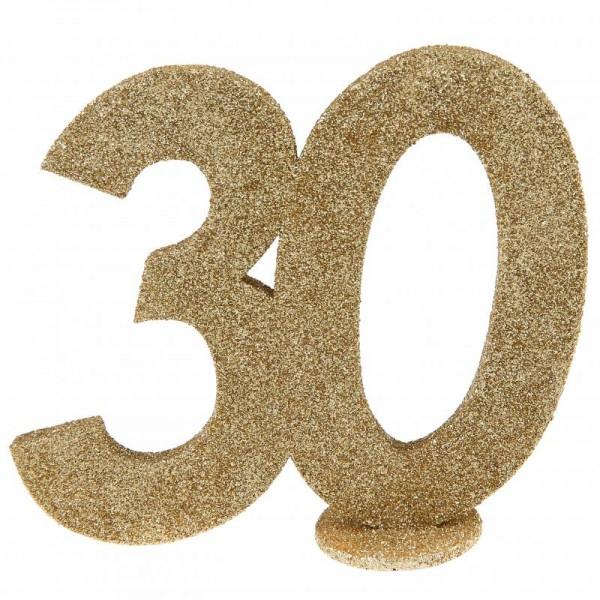 XXL Tischdeko Zahl 30 Geburtstag Gold Glitzer 1 Stück