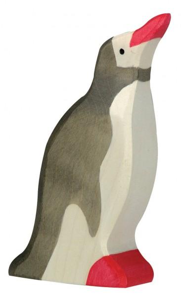 Holztiger Pinguin Kopf hoch