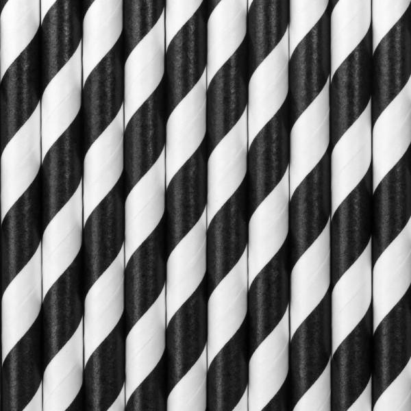 Trinkhalme Schwarz und Weiß gestreift aus Pappe Strohhalme 10 Stück