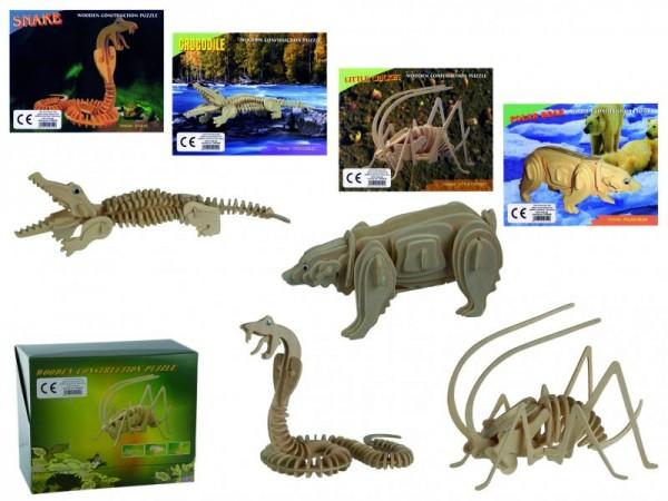 3D Puzzle Holzpuzzle Wildtiere in 4 verschiedenen Motiven 4 Stück