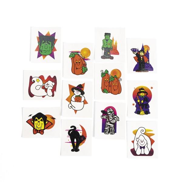 Tattoos Glitzer Halloween 36 Stück 12 verschiedene Motive