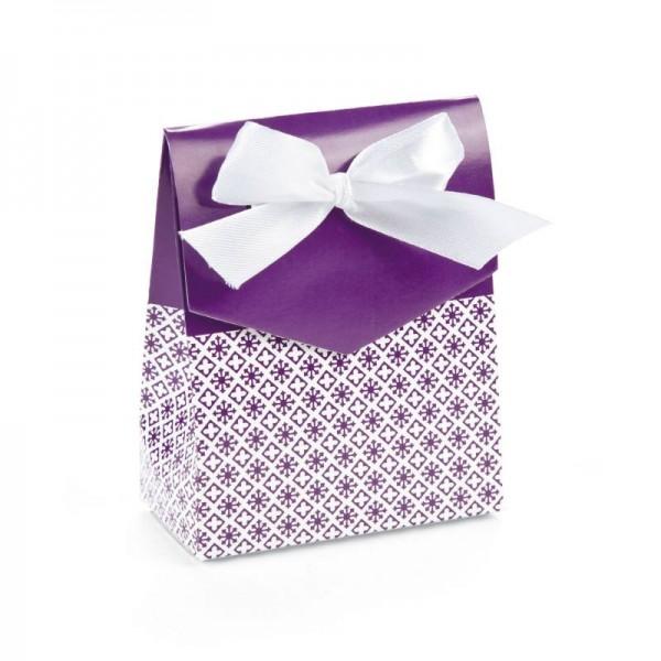 Geschenkboxen Faltboxen Lila mit Schleife 12 Stück