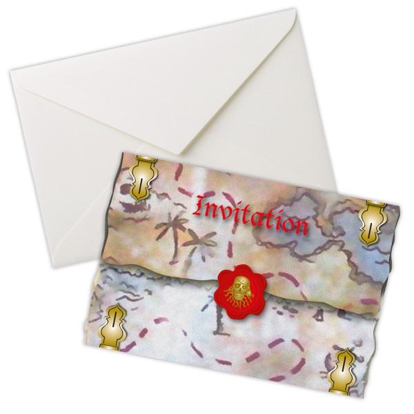 Red Pirate Piraten Einladungskarten Piraten Party 8 Stück