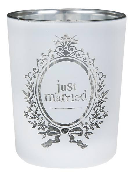 Just Married Teelichthalter Windlicht klein durchsichtig 2 Stück aus Glas