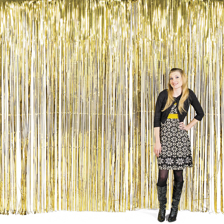 vorhang gold metallic streifenvorhang folienvorhang. Black Bedroom Furniture Sets. Home Design Ideas