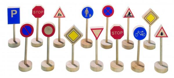 Verkehrszeichen aus Holz 15 Stück Holzspielzeug von goki
