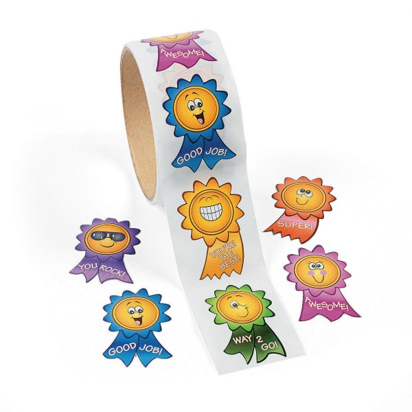 Smiley Motivations-Aufkleber Sticker 100 Stück
