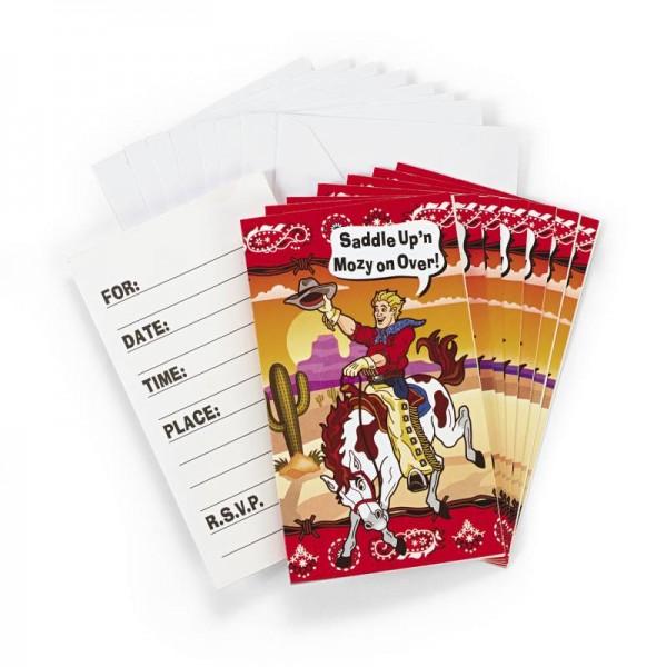 Western Party Einladungskarten 8 Stück