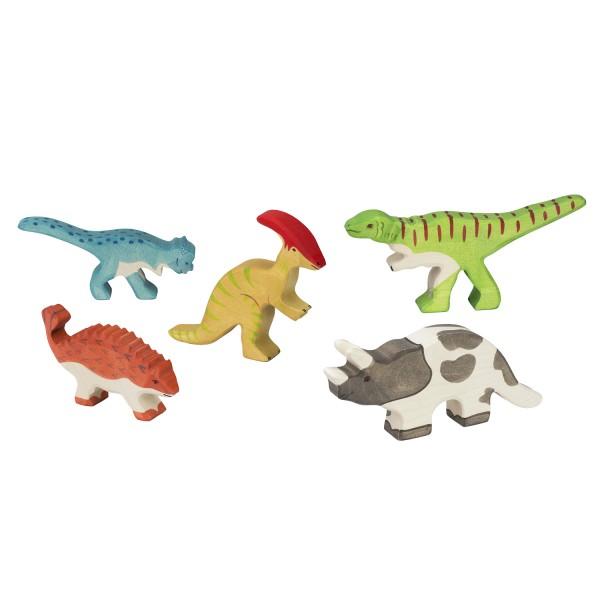 Holztiger Dinosaurier Dino Set mit 5 Holzfiguren