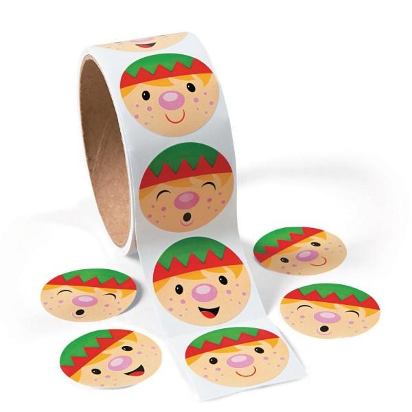Lustige Weihnachts-Elfen Gesichter Aufkleber Sticker 100 Stück