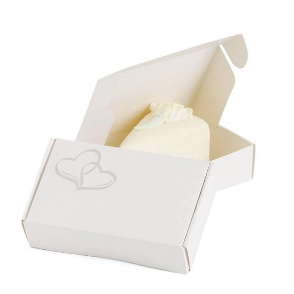 Doppelherz Mini-Faltbox für Gastgeschenke aus Pappe flach 12 Stück