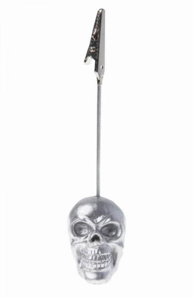 Totenkopf Skull Namensschild Halter silber 6 Stück