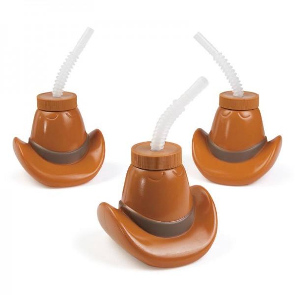 Cowboy Wilder Westen Trinkflasche als Cowboyhut 6 Stück