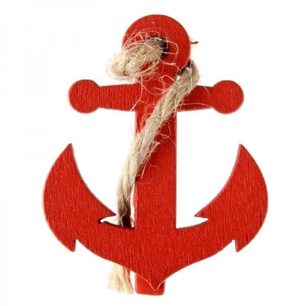 Anker Tischdeko Maritim Klammer Holz Rot 4 Stück