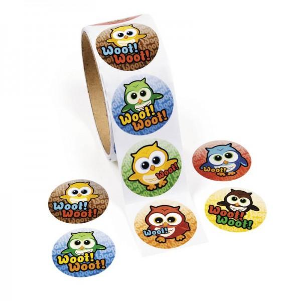 Eule bunt und lustig Aufkleber Sticker 100 Stück