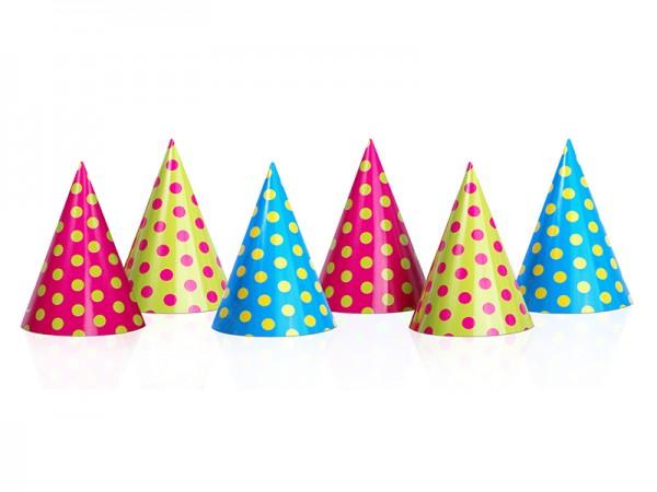 Partyhüte mit bunten Punkten für Kindergeburtstag 6 Stück