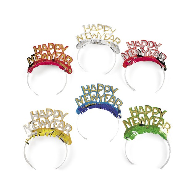 Silvester Dekoration Haarreifen Tiara Happy New Year 24 Stück