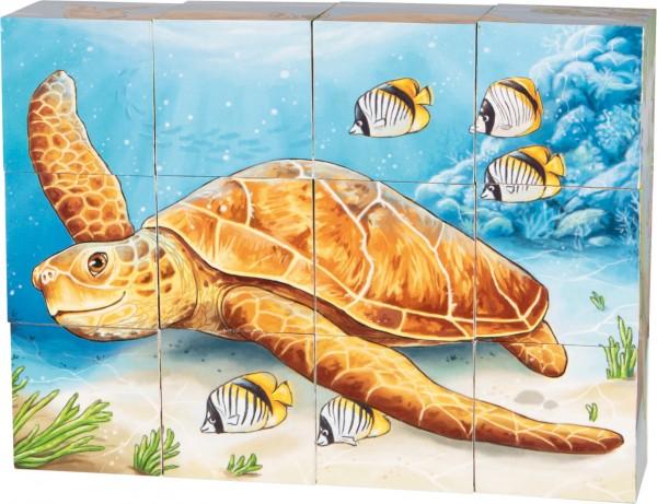Würfel-Puzzle australische Tierwelt mit 12 Teilen und 6 Motiven