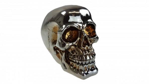 Halloween Totenkopf Totenschädel im platin-metallic-Design aus Resin