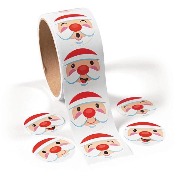 Lustige Weihnachtsmann Gesichter Aufkleber Sticker 100 Stück