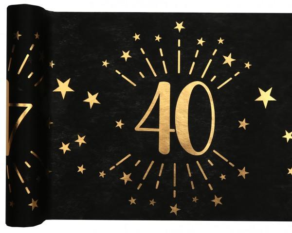 Tischläufer Vlies schwarz mit Zahl 40 Gold 5m Geburtstag