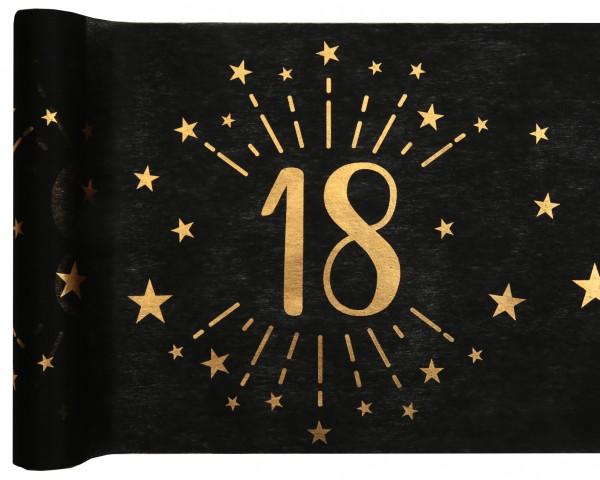 Tischläufer Vlies schwarz mit Zahl 18 Gold 5m Geburtstag