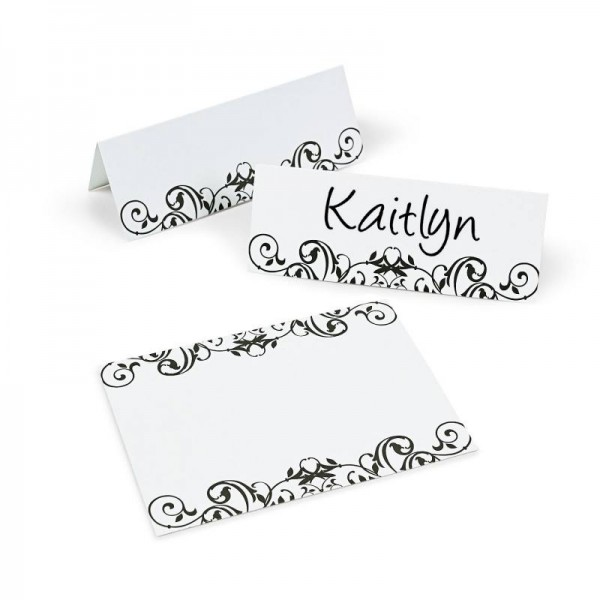 Platzkarten Namensschild Papier in Weiß mit Barock Motiv 12 Stück