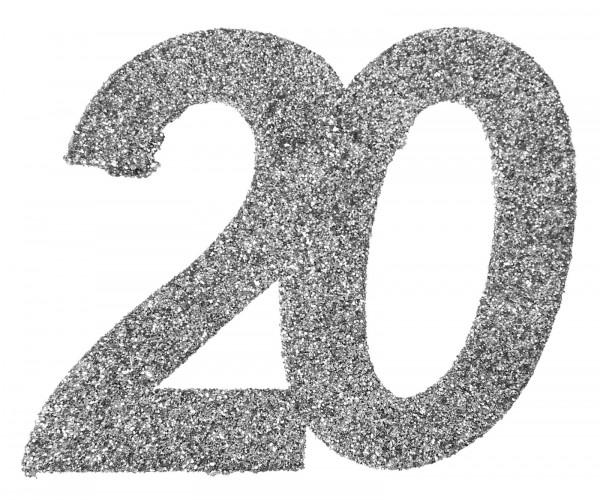 """XXL Geburtstags Konfetti Zahl """"20"""" silber glitzernd 6 Stück"""