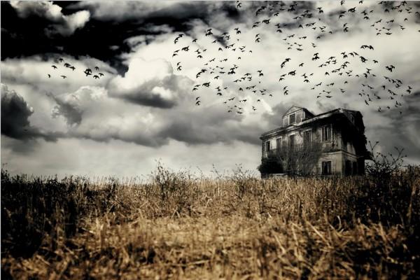 Halloween Horror Farmhaus Bauernhof Wanddekoration