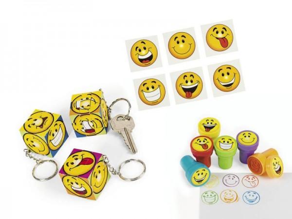 Smiley Mitgebsel Set A mit 60 Teilen Schlüsselanhänger Stempel Tattoos