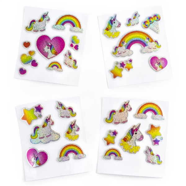 Einhorn Mottparty Gel-Sticker Aufkleber 28 Stück