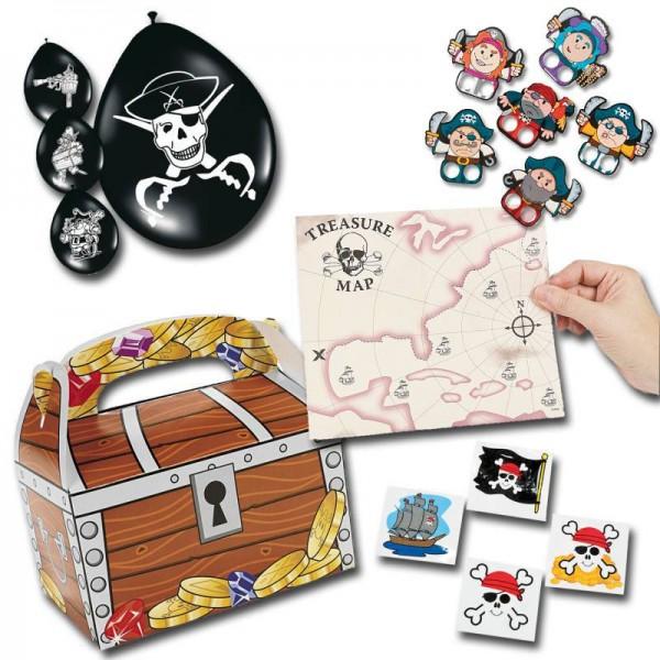 Piratenparty Mitgebsel Set A mit 80 Teilen Schatzkiste Schatzkarte Ballons Fingerpuppen