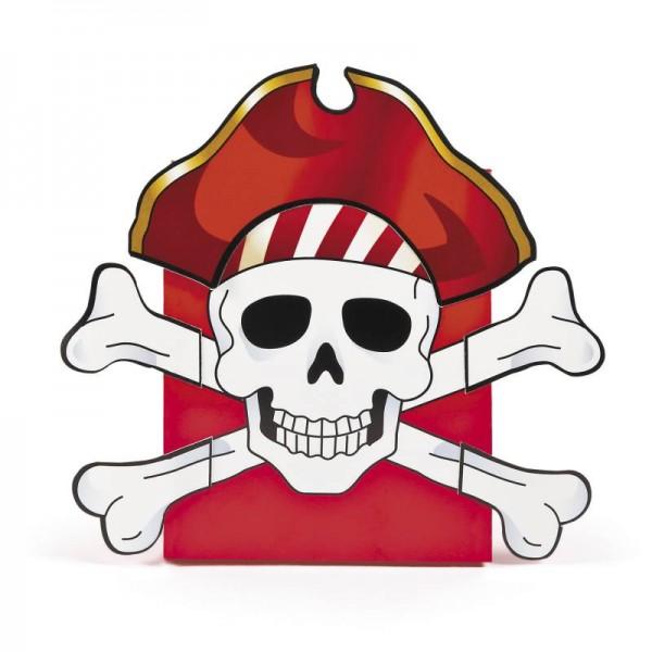 Piratenparty Faltboxen Totenkopf Rot Seeräuber 12 Stück