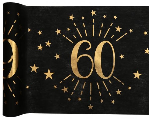Tischläufer Vlies schwarz mit Zahl 60 Gold 5m Geburtstag