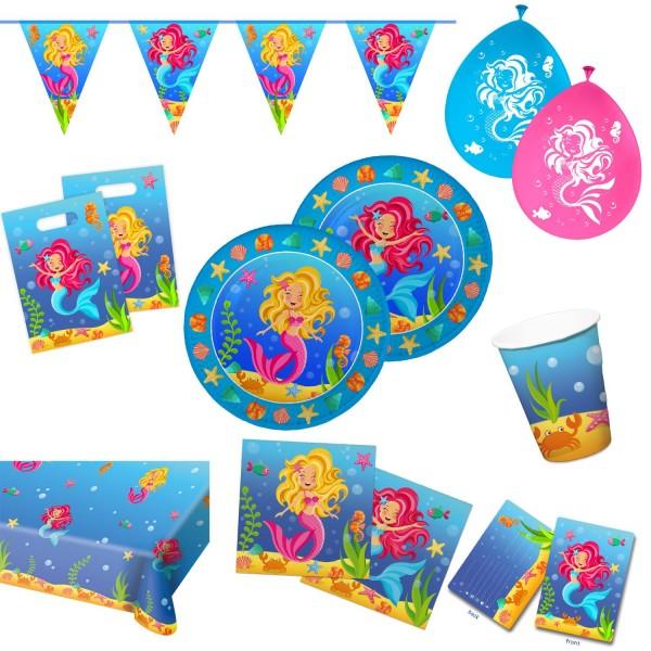 Meerjungfrau Motto-Party-Set C Tischdeko 62-teilig Kindergeburtstag