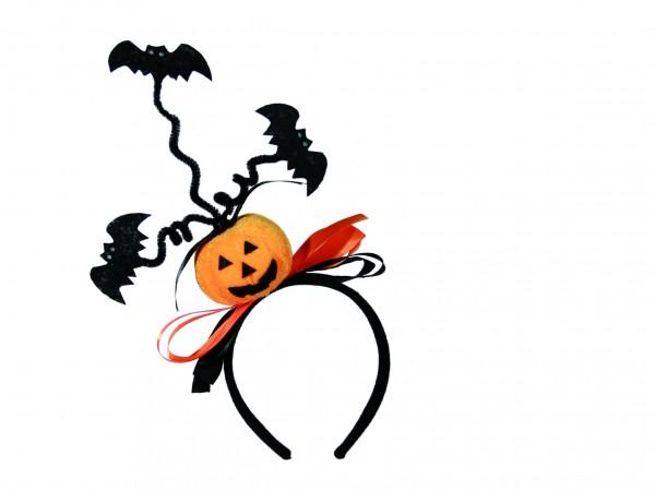 Halloween Haarreif mit Kürbis und Fledermaus