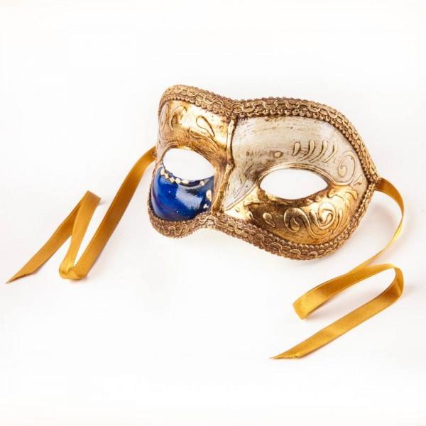 Venezianische Maske Colombina Gold Weiß Blau