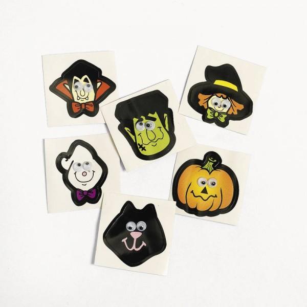 Halloween Sticker, Aufkleber mit Wackelaugen 36 Stück