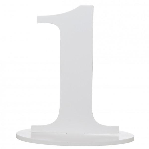 XXL Tischdeko Tisch-Zahl 1 aus Holz in Weiß Geburtstag 1 Stück