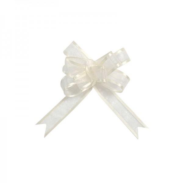 Ziehschleifen Geschenkschleifen elfenbein 8cm x 4,5cm aus Organza mit Satinkante 5 Stück