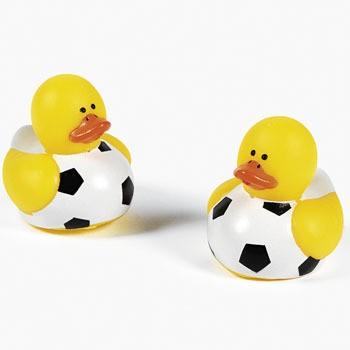Gummiente Fußball Spritzente Gummi-Ente 12 Stück
