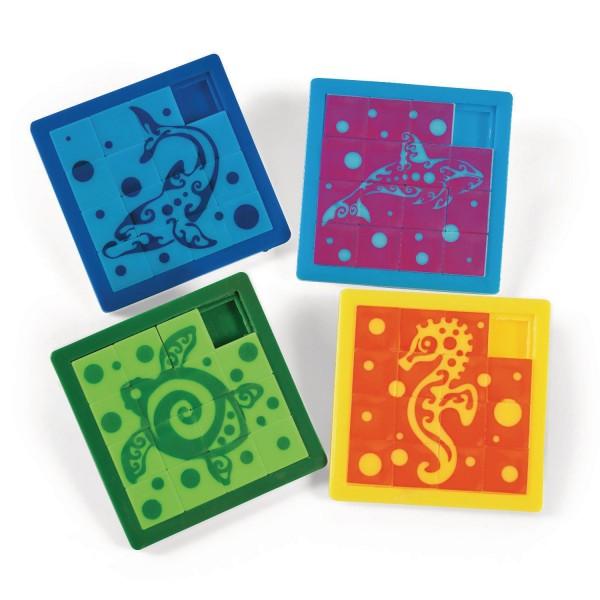 Meerestiere Schiebe-Puzzle 4 Motive 12 Stück